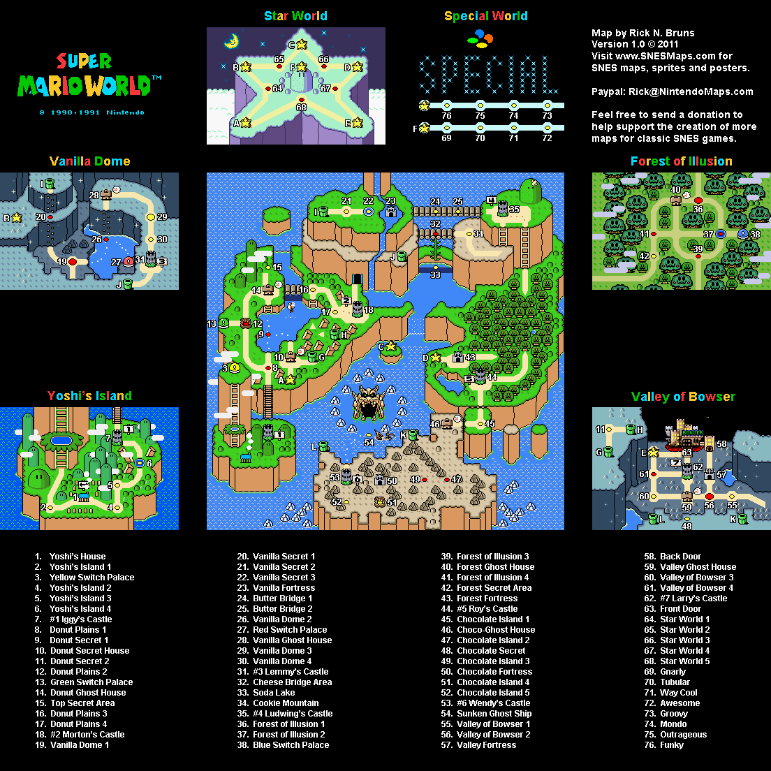 Super Mario World - Overworld Super Nintendo SNES Map
