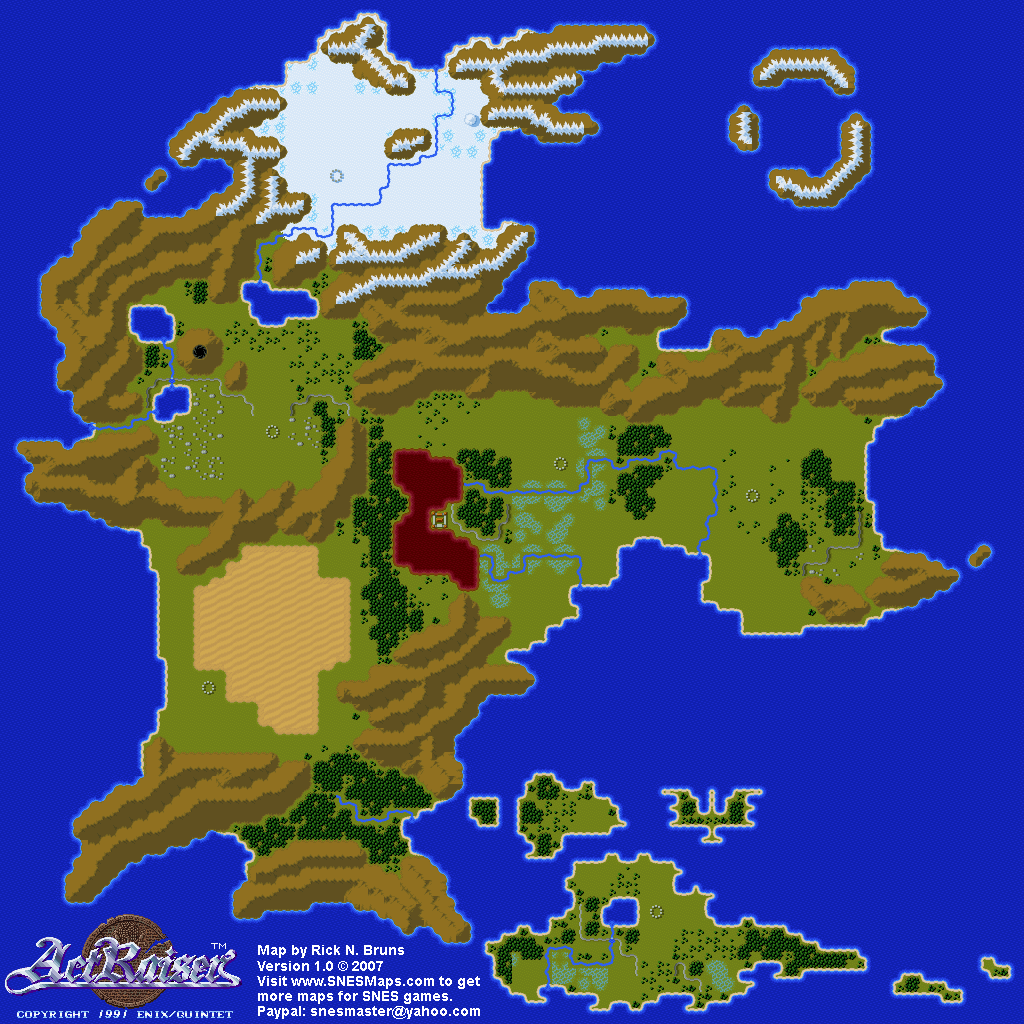 Actraiser Map Selection World And Towns Super Nintendo Snes