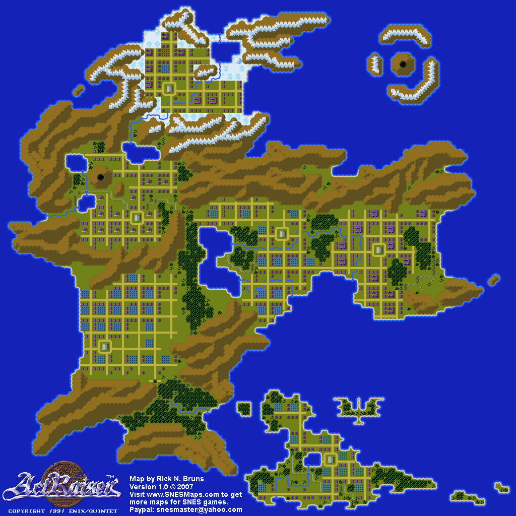 Actraiser world map populated snes super nintendo gumiabroncs Images