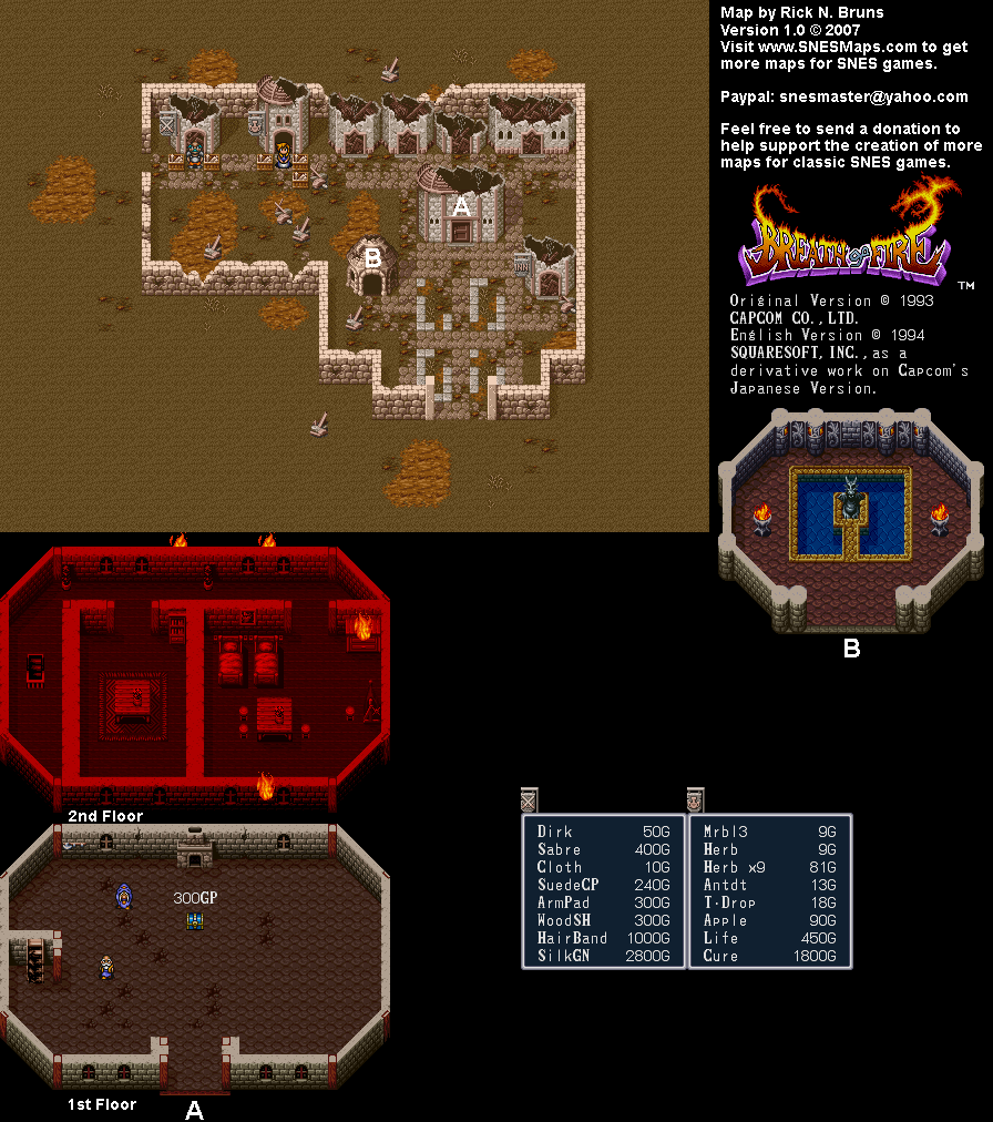 Breath of Fire - Drogen Town Interior Map - SNES Super Nintendo on resident evil zero map, tales of symphonia map, god of war map, skies of arcadia map, devil may cry map, legend of dragoon map, pool of radiance map, illusion of gaia map, shining force map, chrono trigger map, chrono cross map, legacy of kain map,