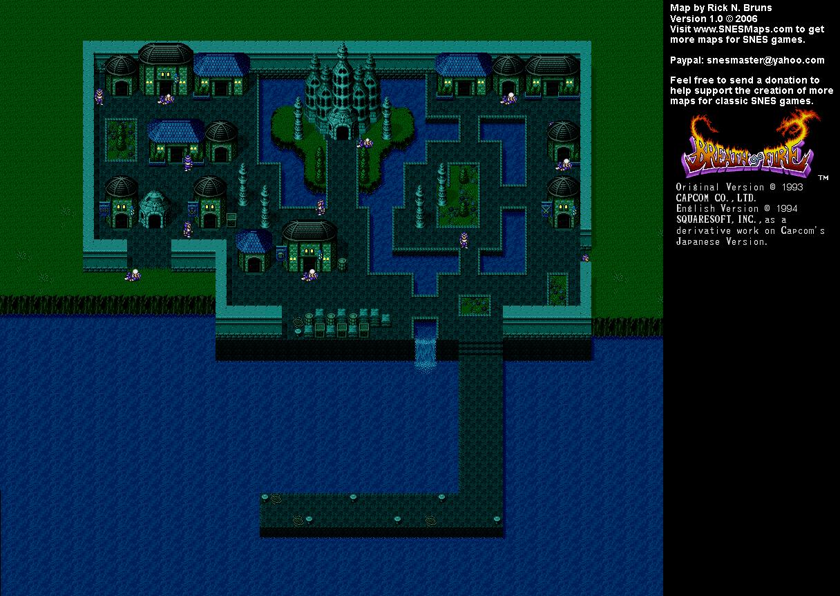 Breath of Fire   Nanai Town (Night) Map   SNES Super Nintendo