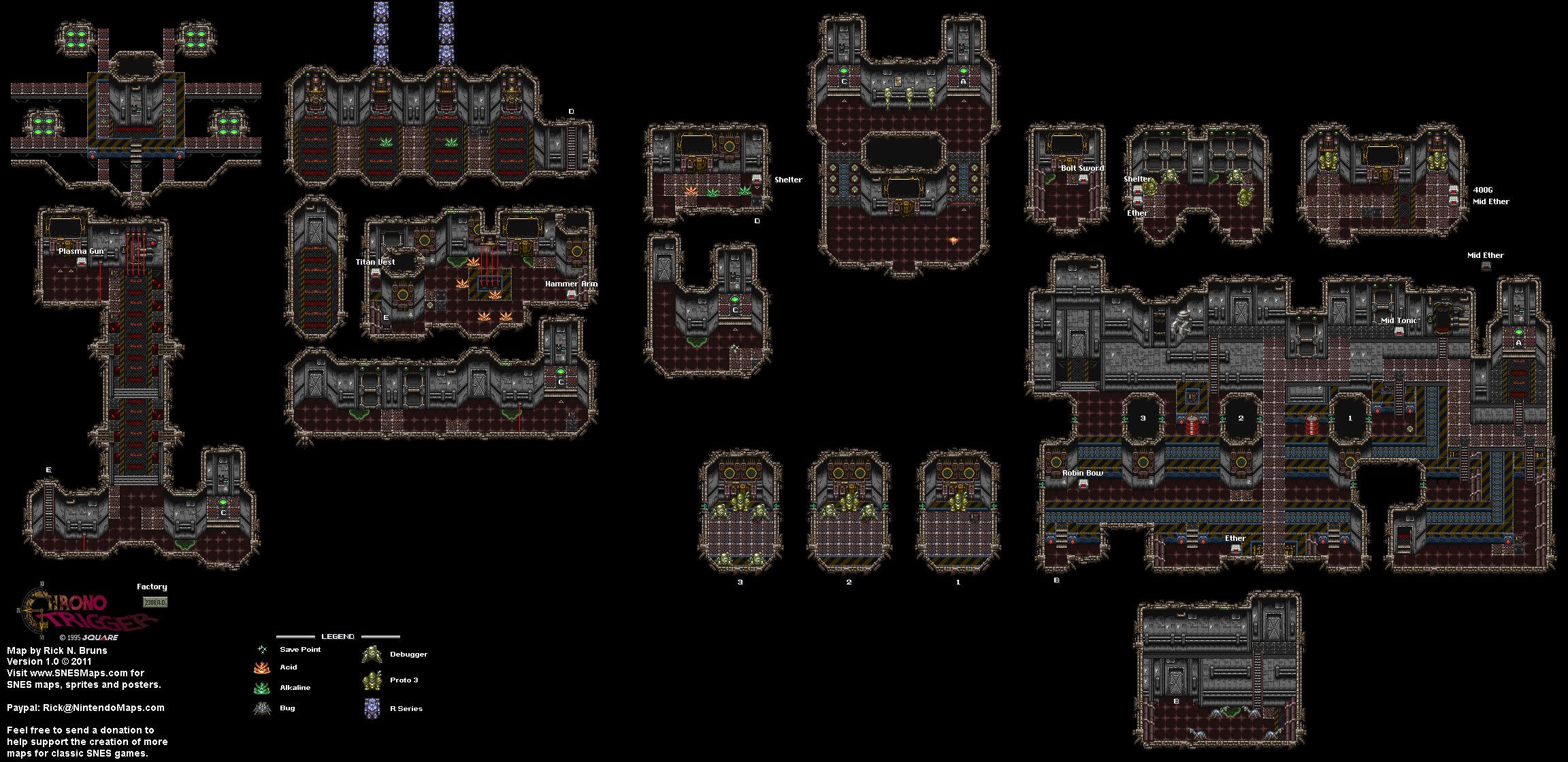 Chrono Trigger - Factory (2300 AD) Super Nintendo SNES Map on dragon age: inquisition map, dragon warrior vii map, animal crossing map, alex kidd in miracle world map, conker's bad fur day map, chrono cross map, pillars of eternity map, tales of hearts map, fire emblem map, grand knights history map, mighty bomb jack map, the elder scrolls v: skyrim map, mortal kombat x map, super ghouls 'n ghosts map, kingdom hearts birth by sleep map, baldur's gate ii map, grand theft auto: san andreas map, assassin's creed unity map, drakengard map, earthbound map,