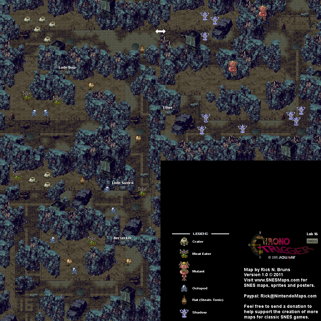 Chrono Trigger - Lab 16 (2300 AD) Super Nintendo SNES Map