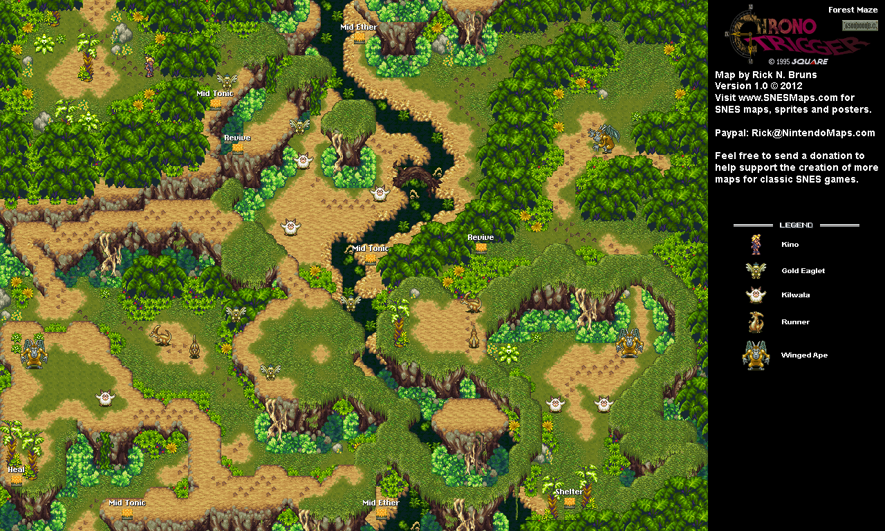 Chrono Trigger - Forest Maze (65,000,000 BC) Super Nintendo ... on dragon age: inquisition map, dragon warrior vii map, animal crossing map, alex kidd in miracle world map, conker's bad fur day map, chrono cross map, pillars of eternity map, tales of hearts map, fire emblem map, grand knights history map, mighty bomb jack map, the elder scrolls v: skyrim map, mortal kombat x map, super ghouls 'n ghosts map, kingdom hearts birth by sleep map, baldur's gate ii map, grand theft auto: san andreas map, assassin's creed unity map, drakengard map, earthbound map,