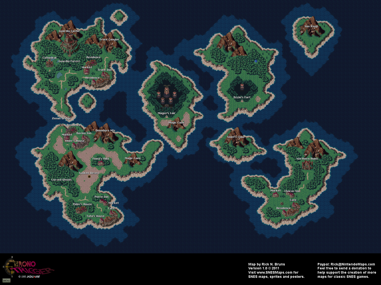 Chrono Trigger   Map Selection   Super Nintendo (SNES) Labeled Maps