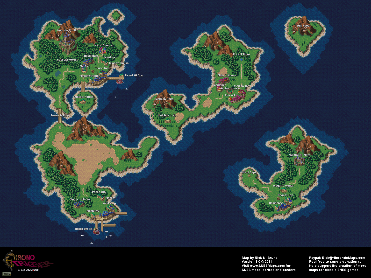 Chrono Trigger World Map Chrono Trigger   Present (1000 AD) Overworld Super Nintendo SNES Map