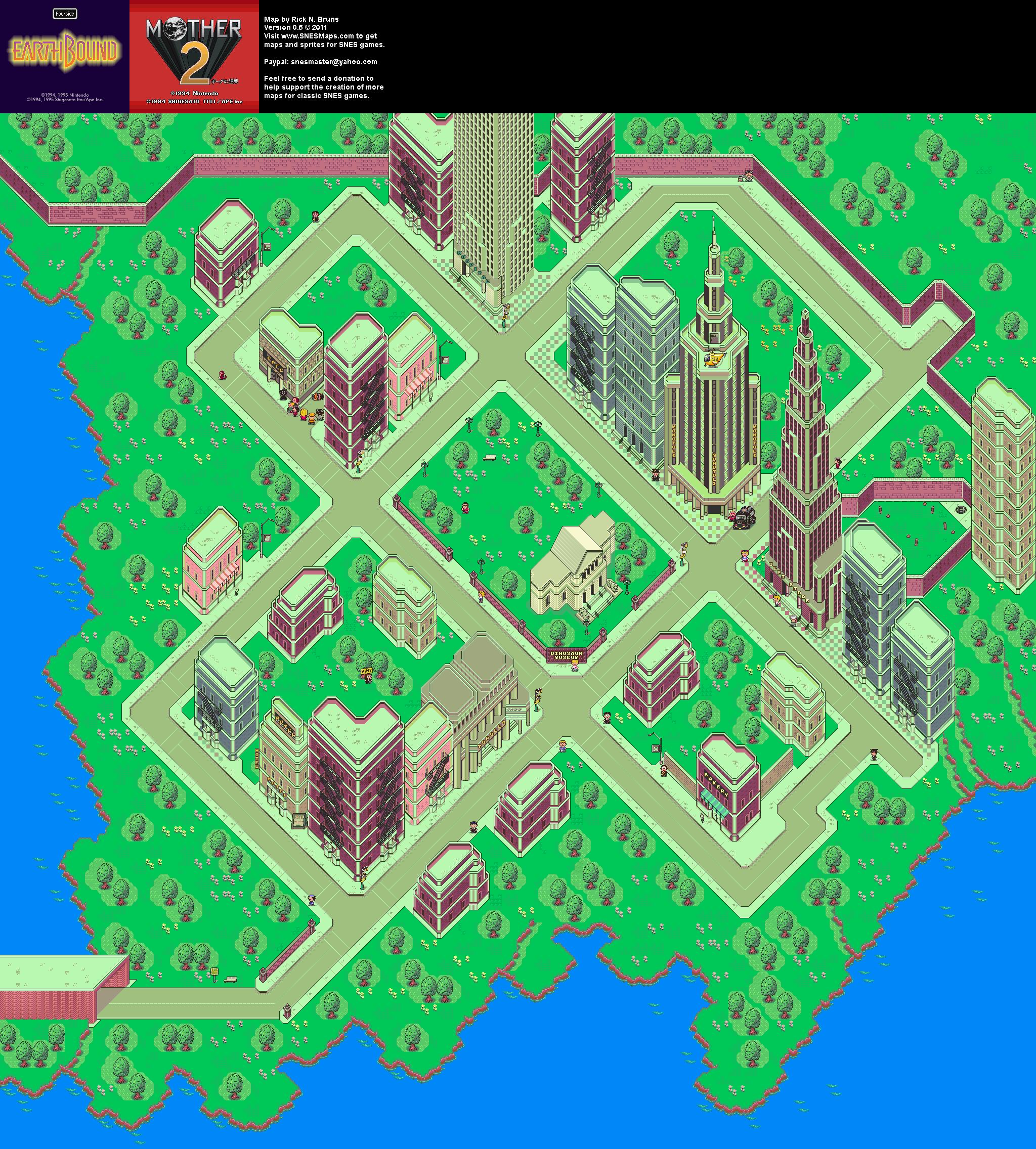 EarthBound (Mother 2) - Fourside Super Nintendo SNES Map