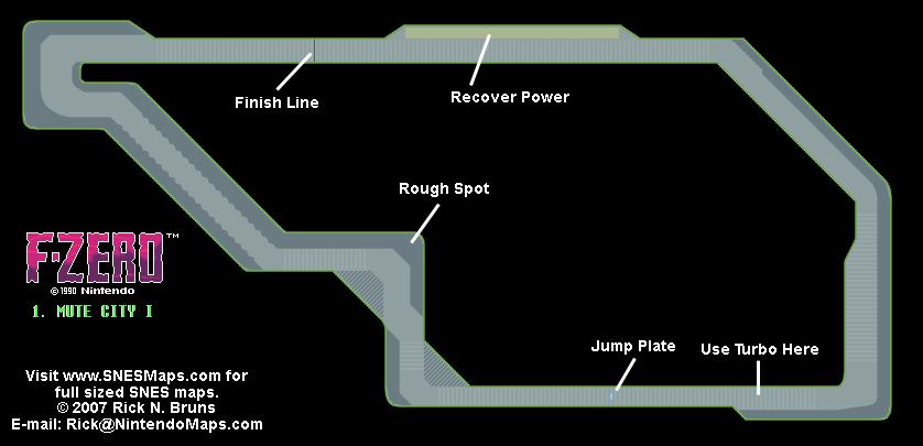F-Zero - Mute City I Small Map - SNES Super Nintendo