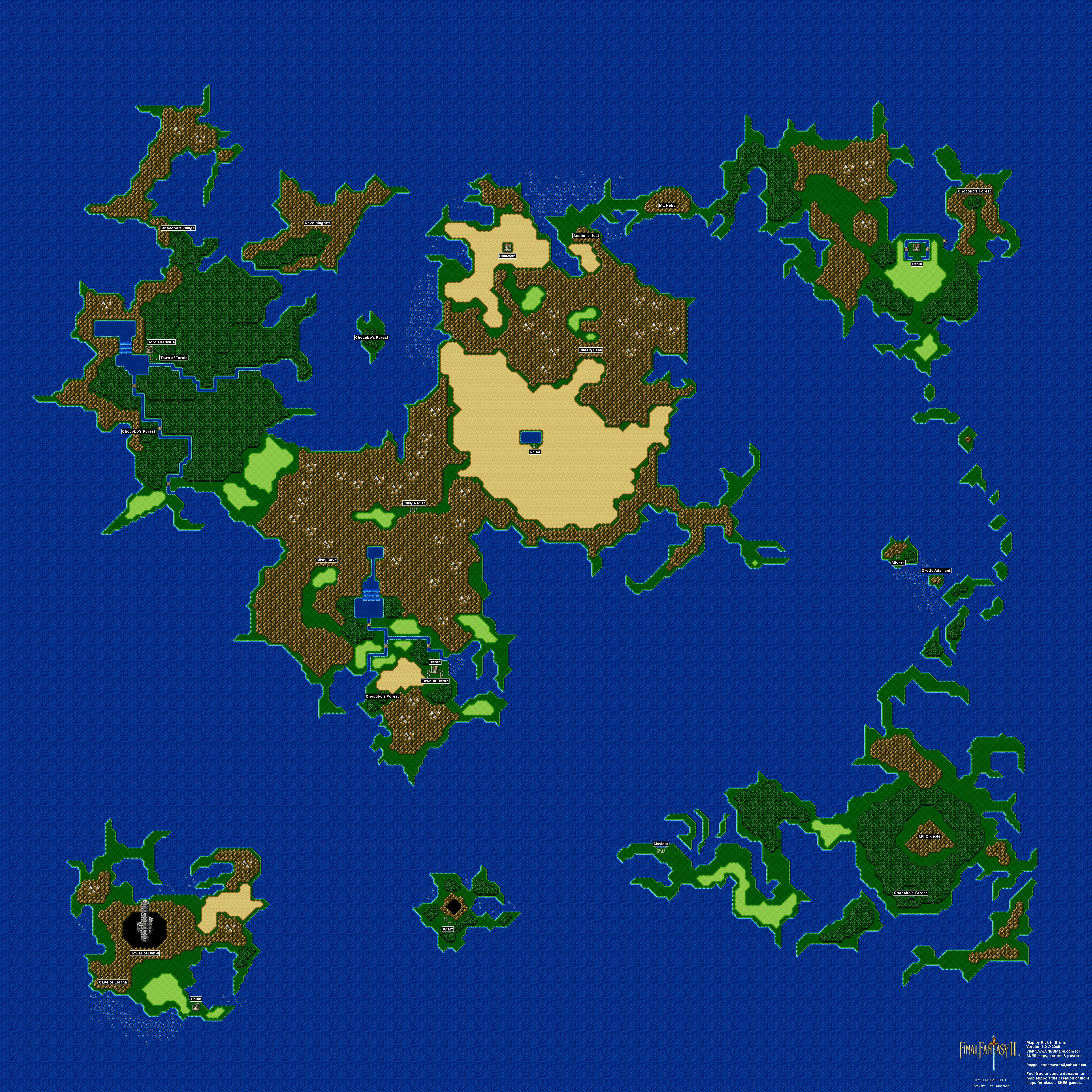 Final Fantasy II 2 IV 4 Overworld Super Nintendo SNES Map