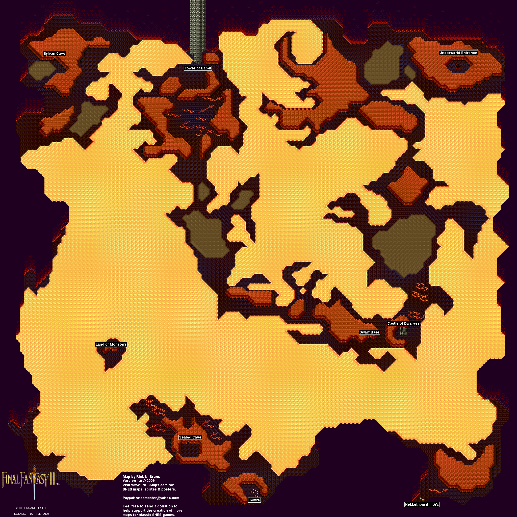 Final Fantasy II 2 (IV 4) Map Selection - Labeled Maps