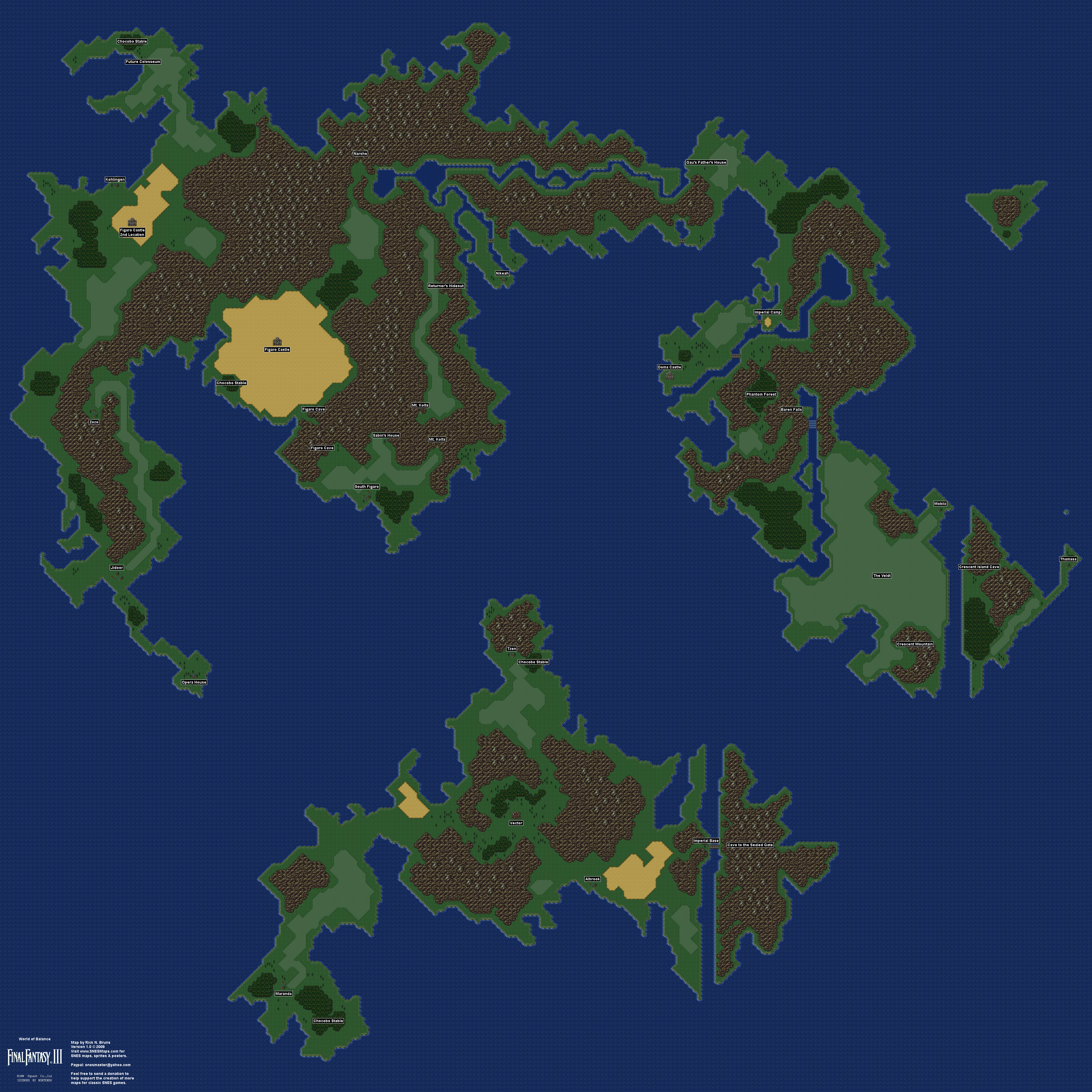 Final Fantasy Iii 3 Vi 6 Map Selection Labeled Maps