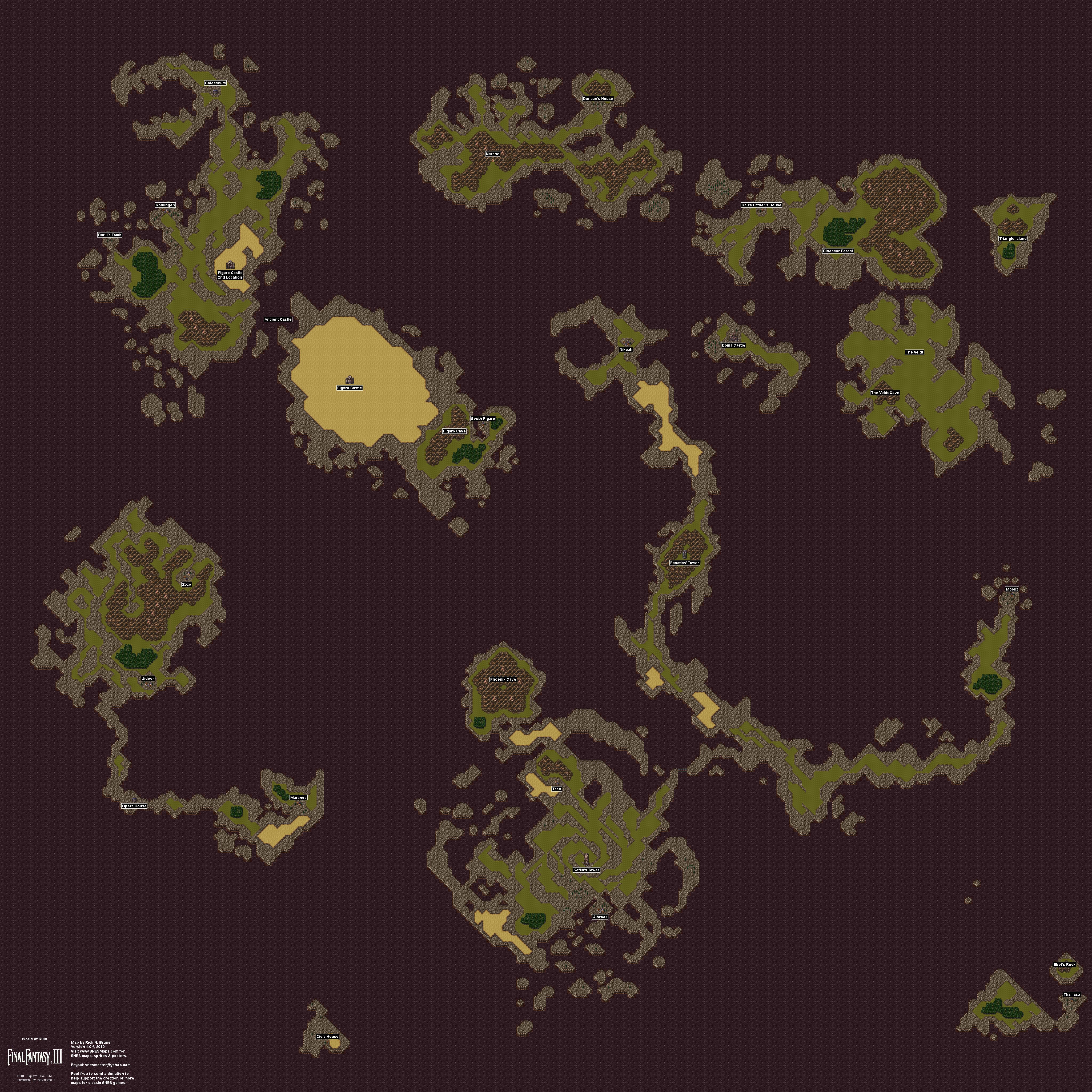 World Of Ruin Map Final Fantasy III 3 (VI 6)   World of Ruin Overworld Super