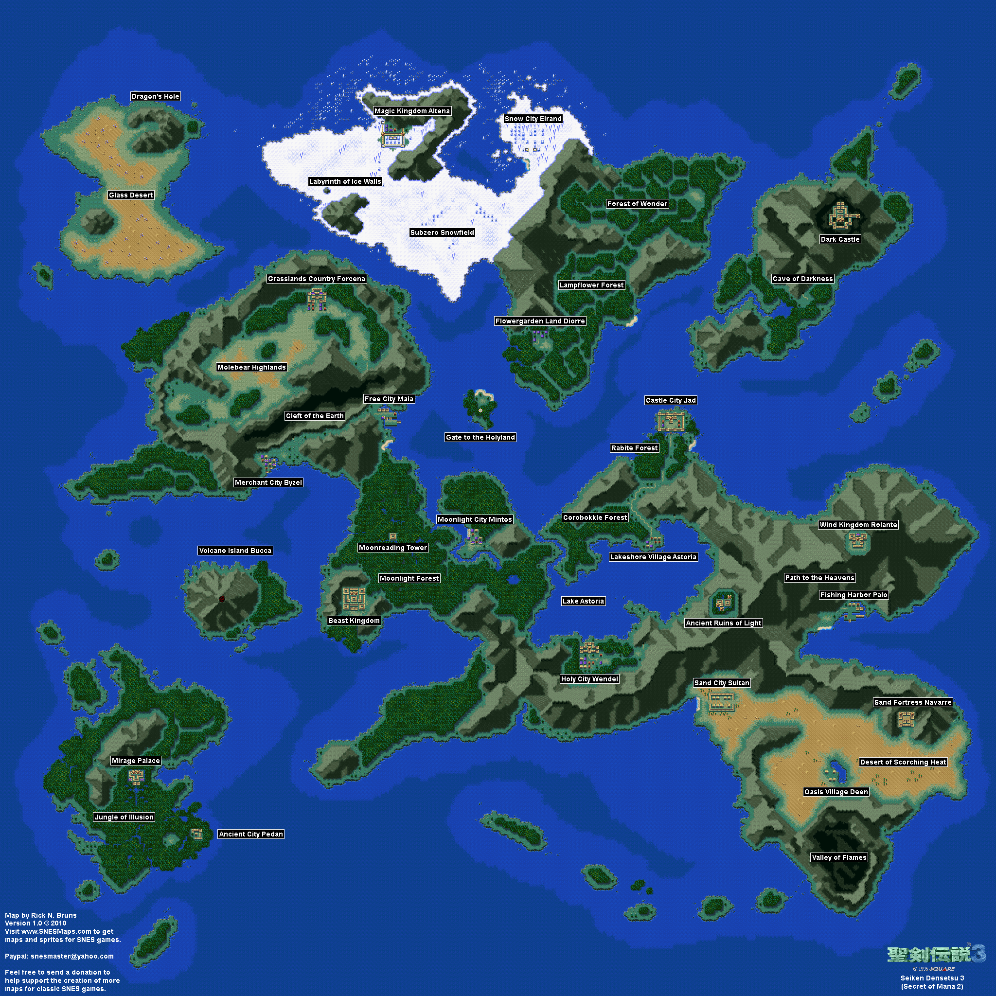Seiken Densetsu 3 (Secret of Mana 2) - Overworld Super Nintendo SNES on secret of mana world map, forest map, nether map, communist country map, dark world map, second life map, death mountain map, persistent world map, deserted island map, misery mire map, puget sound region map, loz world map, line of sight map, wind waker hd map, greater boston area map, kakariko village map, ultima map, fictional world map,
