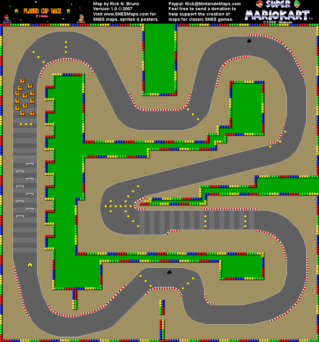 Super Mario Kart - Mario Circuit 3 Map - SNES Super Nintendo