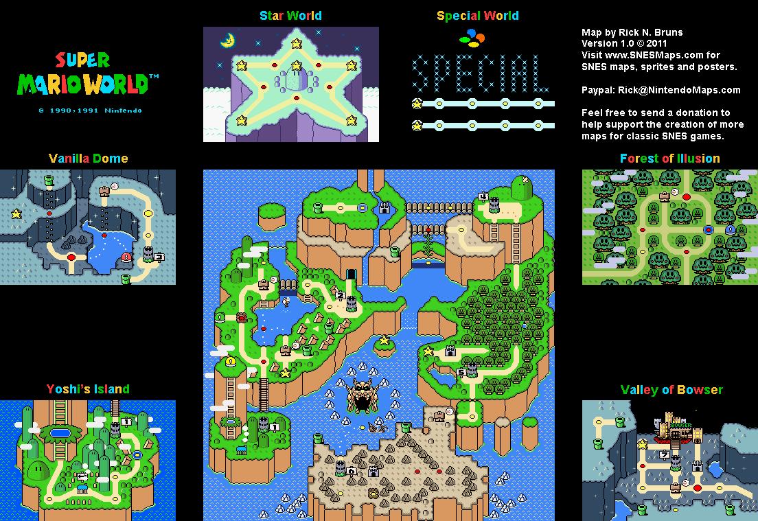 Super Mario World Overworld Super Nintendo SNES Map BG