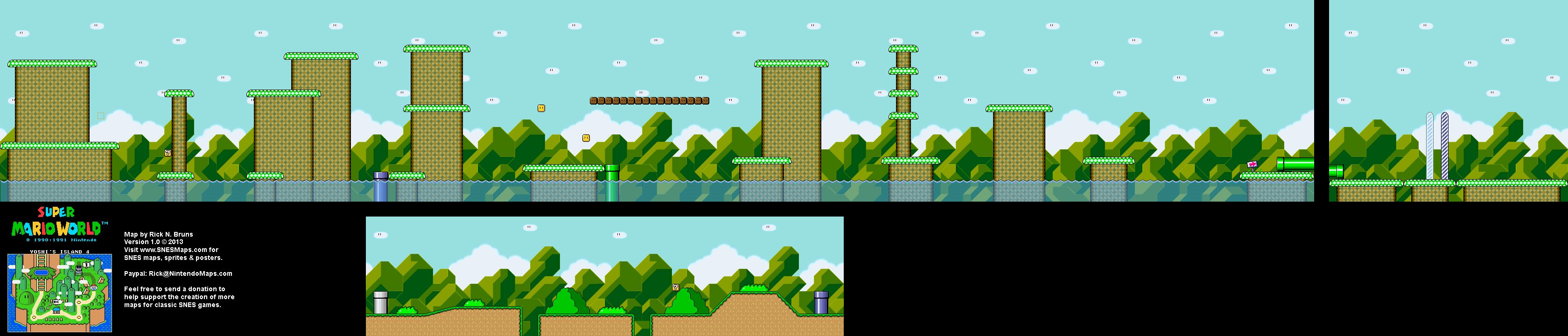 Super Mario World - Yoshi\'s Island 4 Super Nintendo SNES Map BG