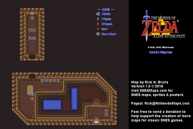 The Legend of Zelda: A Link to the Past - Kakariko Village Cave Map